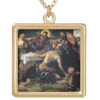Emmaus (キャンバスの油)の夕食 ゴールドプレートネックレス