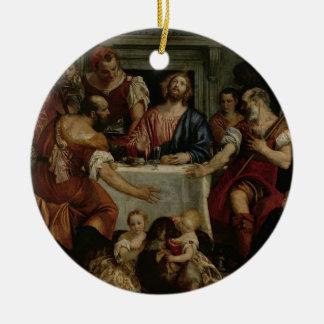 Emmaus (キャンバスの油)の夕食 セラミックオーナメント