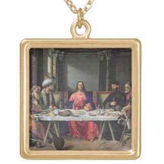 Emmaus (パネルの油)の夕食 ゴールドプレートネックレス