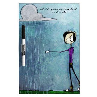 Emoのスタイルの人の雨雲の青い手塗りのカスタム ホワイトボード