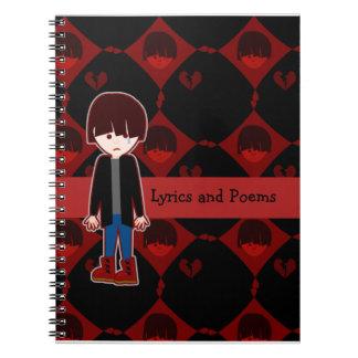 Emoの悲しく孤独な男の子 ノートブック