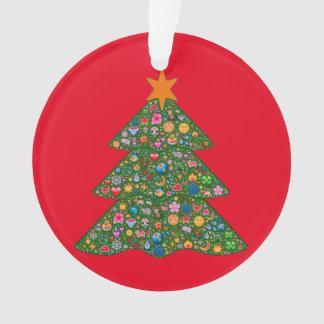 Emojiのクリスマスツリーおよび赤いBuilt4Loveのハート オーナメント