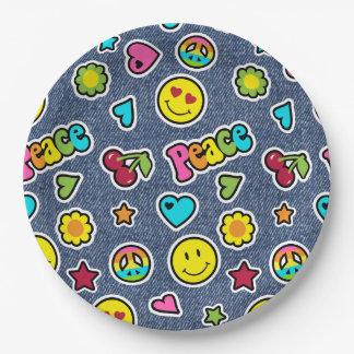 Emojiのスマイルのデニムの女の子の誕生会のプレート ペーパープレート