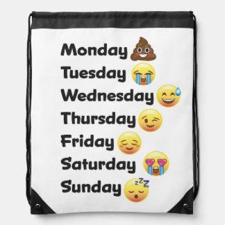 Emojiのドローストリングの学校のスポーツのバッグ曜日 ナップサック
