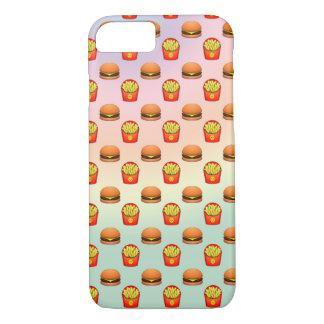 Emojiのパステル調のハンバーガーおよび揚げ物 iPhone 8/7ケース