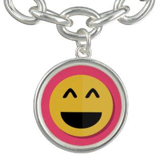 Emojiのピンクおよび黄色いチャームブレスレット チャームブレス