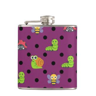 Emojiの女性虫のかたつむりの蜂の幼虫の水玉模様 フラスク