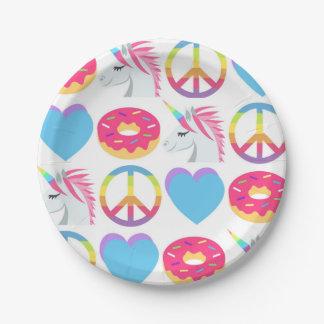 Emojiの紙皿-平和、愛、ユニコーン、ドーナツ ペーパープレート