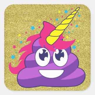 Emojiの紫色のユニコーンのウンチの金ゴールドのグリッターのステッカー スクエアシール