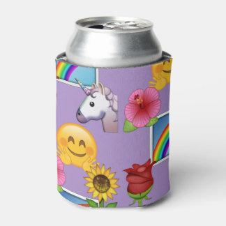 Emojiの虹、ユニコーン及び花 缶クーラー