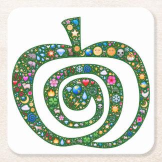 Emoji芸術のコースター、螺線形のりんご、満ちている自然 スクエアペーパーコースター