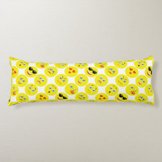 Emoji黄色および白いパターン ボディピロー