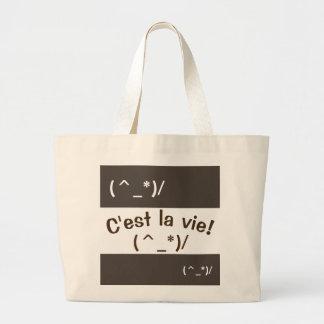 Emoji - C'estのかわいいlaは竸います-ジャンボトートバック ラージトートバッグ