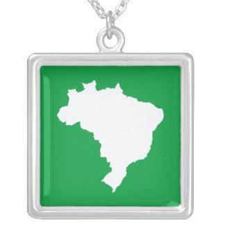 Emporio Moffaのアマゾンの緑のお祝いのブラジル シルバープレートネックレス