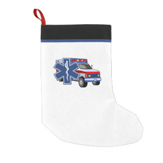 EMTの救急医療隊員EMSの救急車 スモールクリスマスストッキング