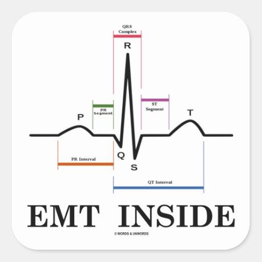 EMT|中|(湾曲|リズム|心電図) 正方形シールステッカー