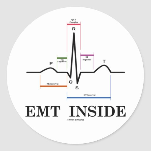 EMT|中|(湾曲|リズム|心電図) 丸形シールステッカー