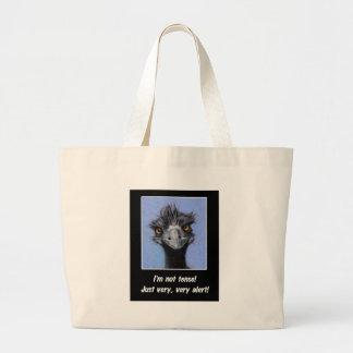 EMU: 緊張したボスまたは他のためのおもしろいなことわざ ラージトートバッグ