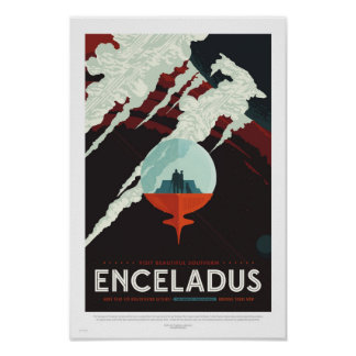 Enceladus -レトロNASA旅行ポスター ポスター