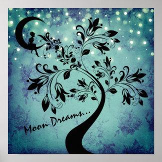 Enchanting Moon Dreams Girl and Flower Tree ポスター