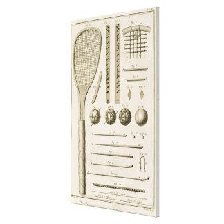 「Encycからのテニスラケットおよびビリヤードの手掛り、 キャンバスプリント