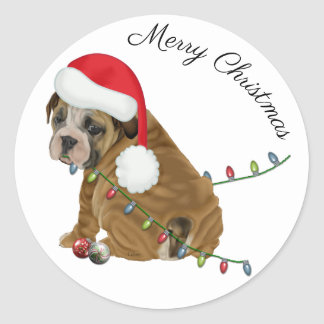 English Bulldog Puppy Christmas ラウンドシール