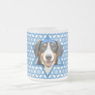 - Entlebucher山犬ハヌカーのダビデの星 フロストグラスマグカップ
