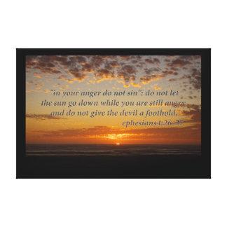 ephesiansの4:26 - 27の日没の最後の時 キャンバスプリント