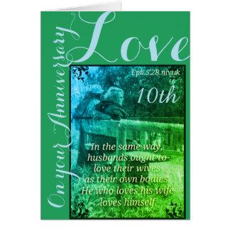 Ephesiansの5:28及び1John 4:19第10記念日カード カード
