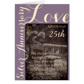 Ephesiansの5:28及び1John 4:19第25記念日カード カード