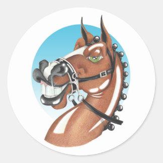 Equi漫画「Kerching」! 茶色の馬の友達 ラウンドシール