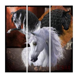 """""""Equus""""の馬のAcryliPrint®HDのトリプティクの壁の芸術 トリプティカ"""