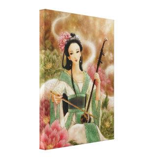 Erhuのキャンバスの覆いのプリントを遊んでいる中国のな女性 キャンバスプリント