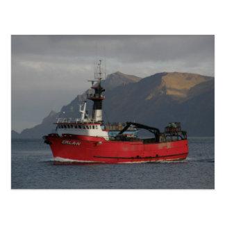 Erla Nのオランダ港、アラスカのカニのボート ポストカード