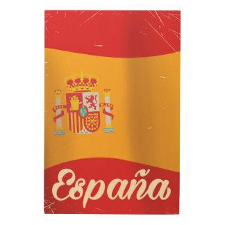 Españaのヴィンテージ旅行ヴィンテージの地図の休暇ポスター ウッドウォールアート