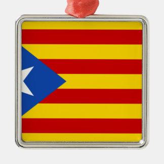 Esteladaのbanderaのindependentista de Catalunya シルバーカラー正方形オーナメント