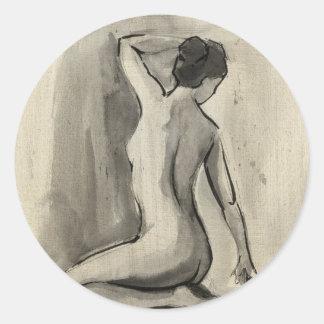 Ethanのハープ奏者による女性の身体の裸のスケッチ ラウンドシール