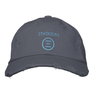 Ethereumの記号の淡いブルーの(3xステッチ)野球帽 刺繍入りキャップ
