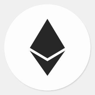 Ethereumの黒いロゴのステッカー ラウンドシール