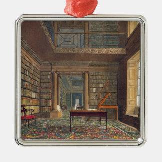 「Eton Collegの歴史からのEtonの大学図書館、 シルバーカラー正方形オーナメント