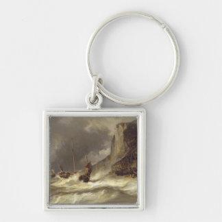 Etretat、ノルマンディー1851年の海岸の嵐 キーホルダー