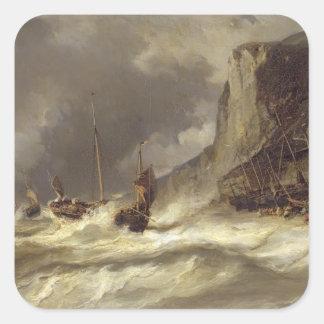 Etretat、ノルマンディー1851年の海岸の嵐 スクエアシール