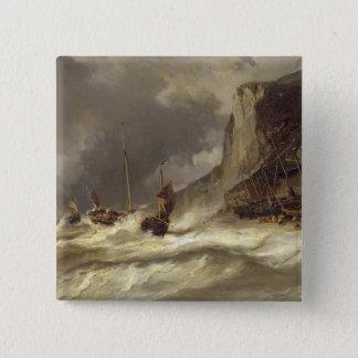 Etretat、ノルマンディー1851年の海岸の嵐 5.1cm 正方形バッジ