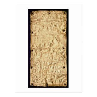 「Etruscanの短い」銘刻文字が付いている金ゴールドプレート、から ポストカード