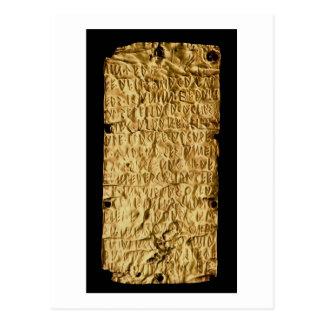 「Etruscanの長い」銘刻文字が付いている金ゴールドプレートのための ポストカード
