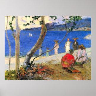 Eugèneアンリーポール・ゴーギャン著ビーチ場面 ポスター