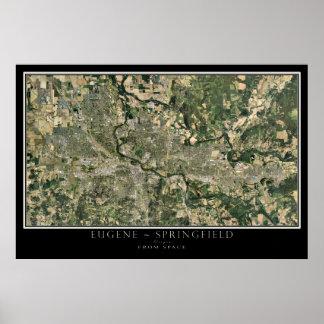 Eugene -スプリングフィールドオレゴン衛星地図 ポスター