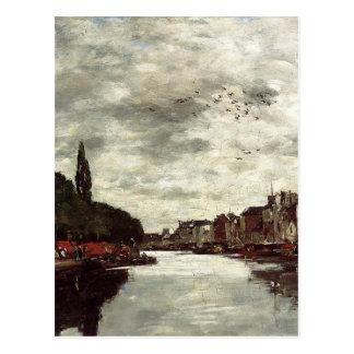 Eugene Boudin著ブリュッセルの近くの運河 ポストカード