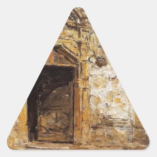 Eugene Boudin著Touques教会のドア 三角形シール