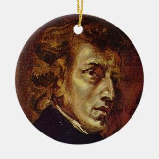Eugene Delacroix著フレデリックショパンのポートレート セラミックオーナメント